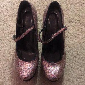 Glitter platform heels size 9